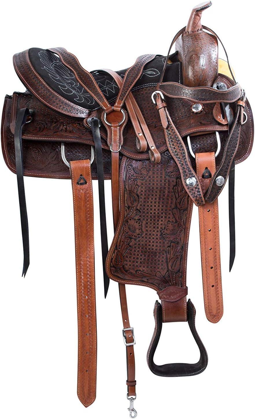 Y&Z Enterprises Sillín de cuero de estilo occidental, asiento de caballos, disponible con reposacabezas de cuero a juego, cuello de pecho, riendas