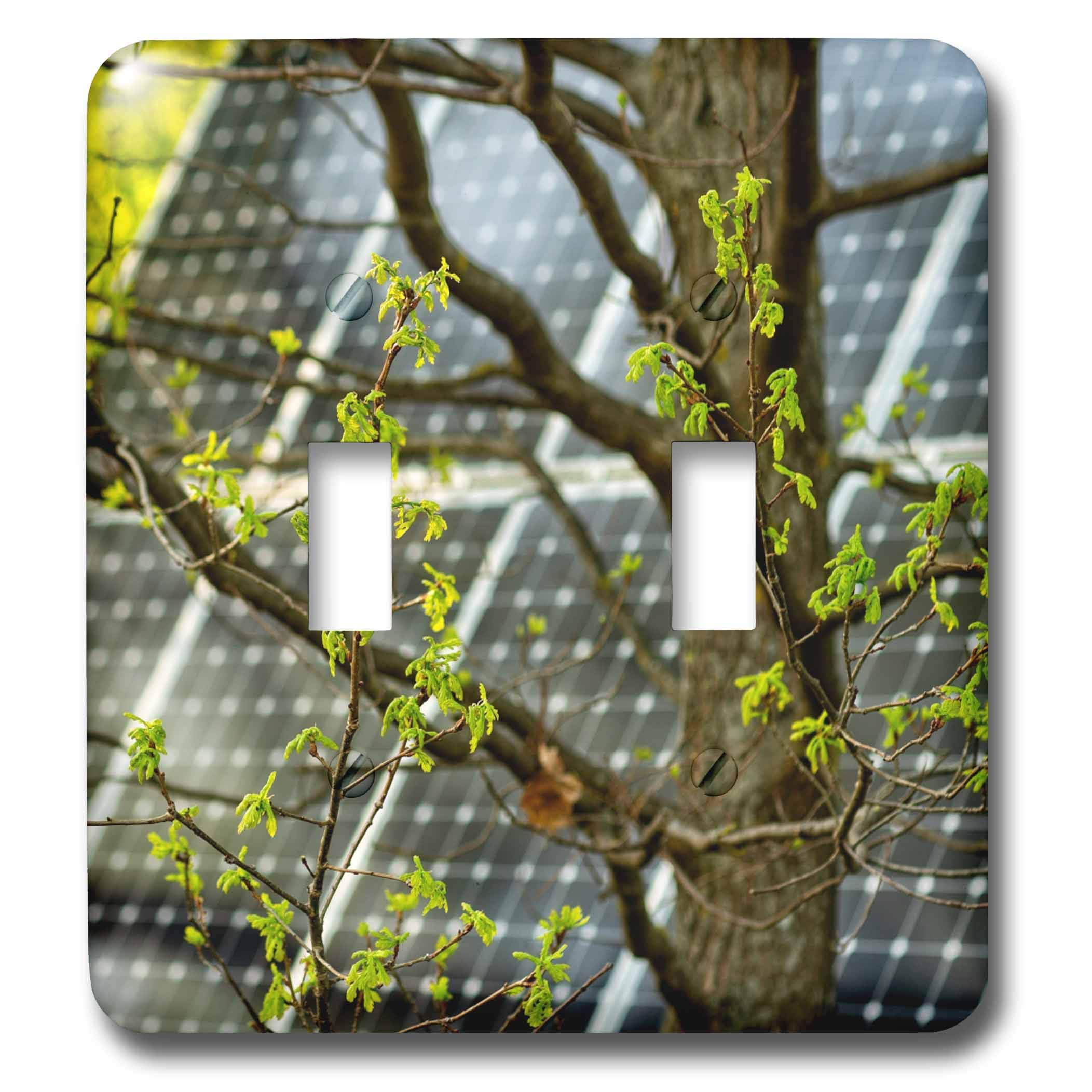 3dRose Alexis Photography - Objects - Oak tree with fresh leaves, solar power panel in the background - Light Switch Covers - double toggle switch (lsp_290827_2)