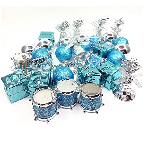 jeteven 32 pcs christmas tree pendant xmas baubles decoration set lake blue