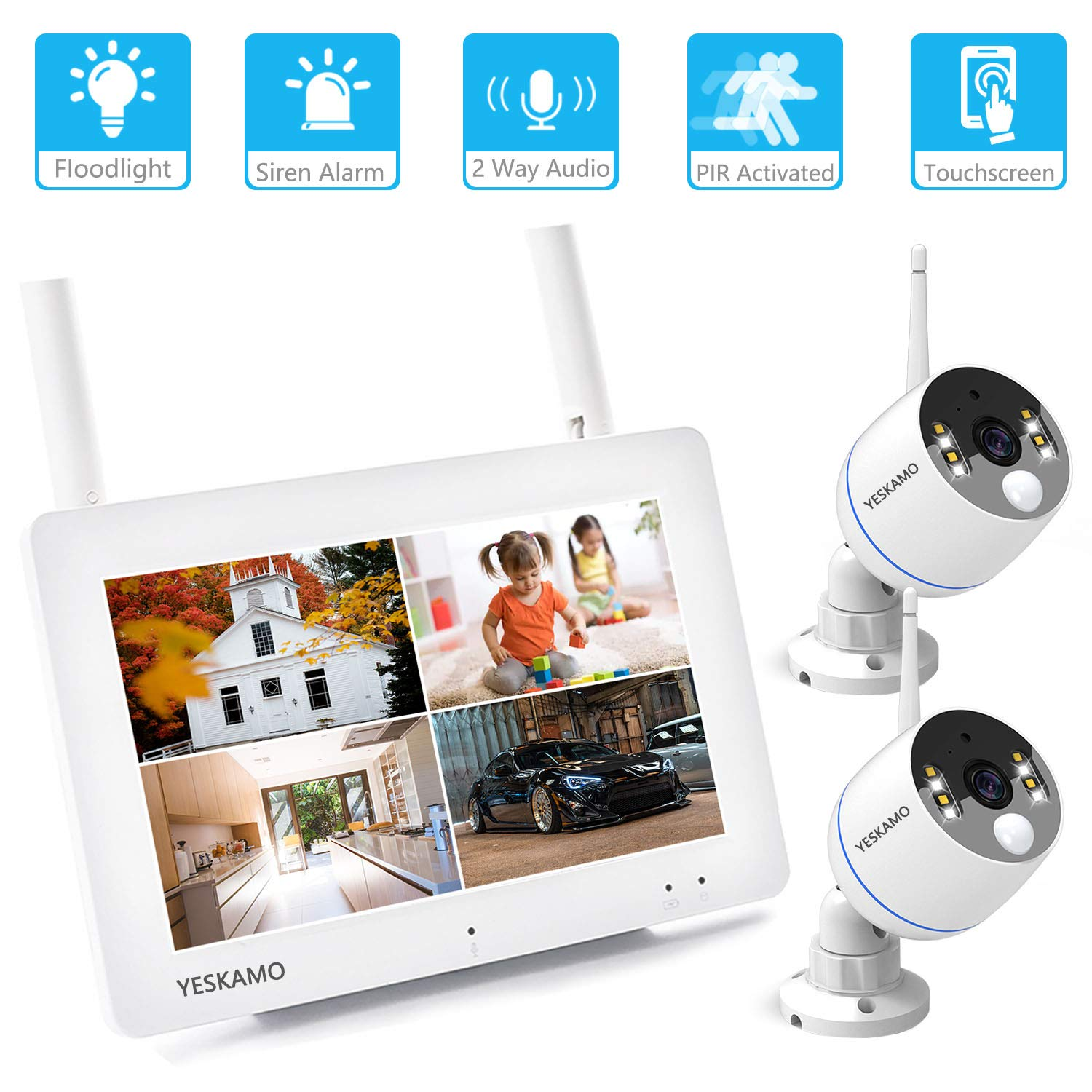 Outdoor Security Camera System Wireless 7 Portable Touchscreen Monitor 2 Floodlight 1080P WiFi IP Cameras for Home Video Surveillance YESKAMO Floodlight /& Touchscreen Two Way Audio
