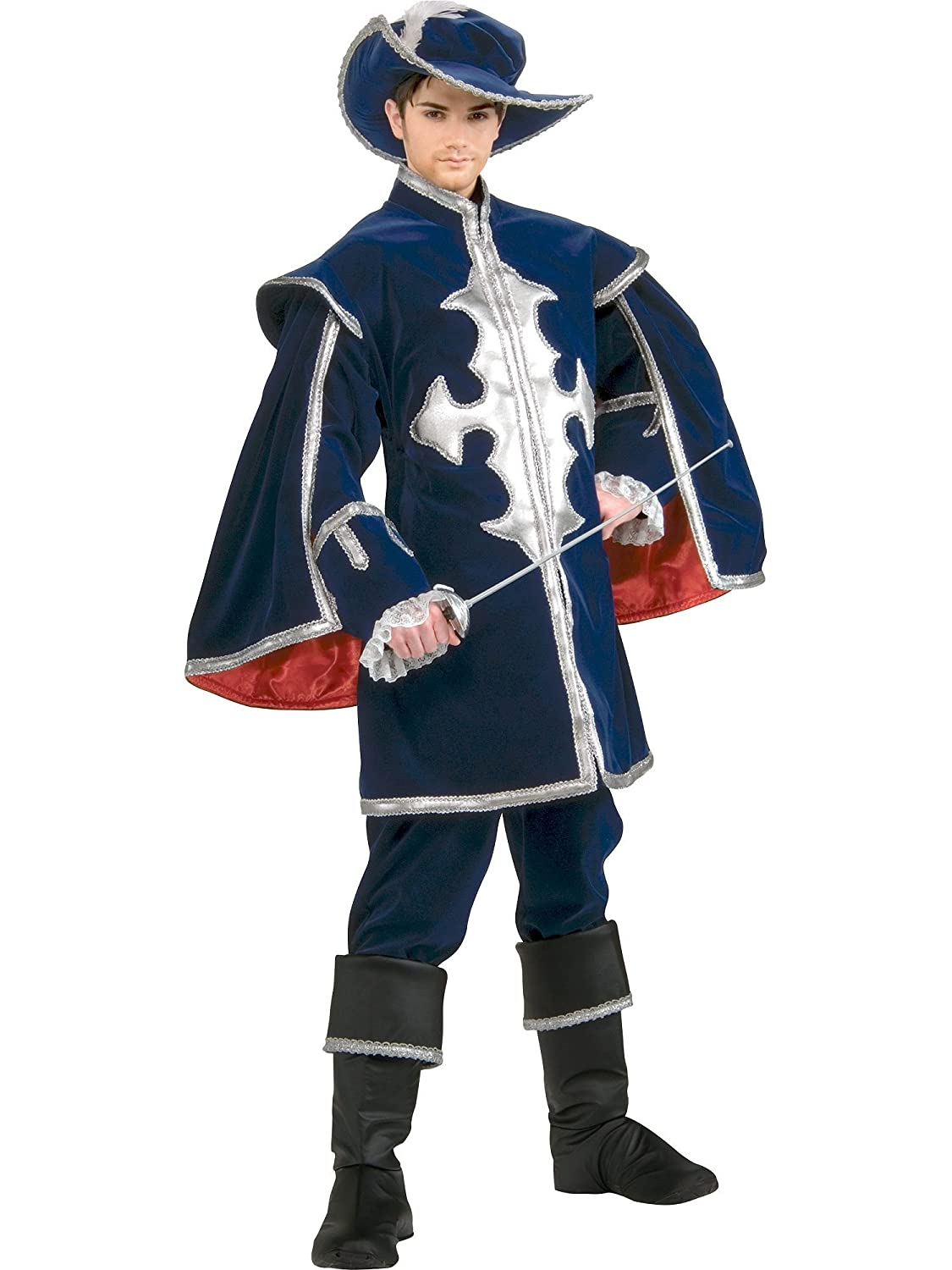 a316ae87a95 Men s Deluxe Grand Heritage Blue Velvet Musketeer Costume -  DeluxeAdultCostumes.com