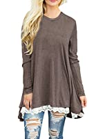 Abby&Mavis Women Lace Long Sleeve Casual Tunic Top Lace Sticthing T-shirt Blouse