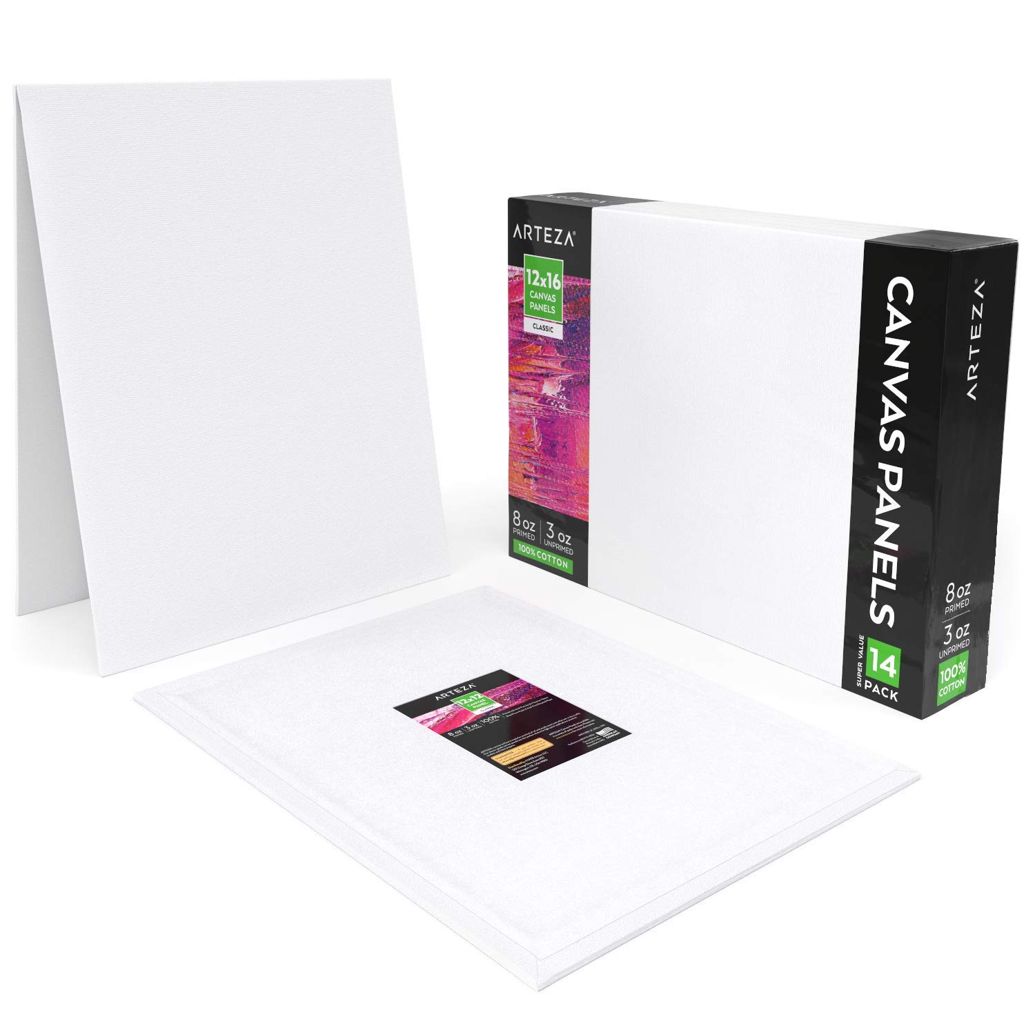Arteza 12''x16'' White Blank Canvas Panel Boards, Bulk (Pack of 14), Primed 100% Cotton, for Acrylic Painting, Oil Paint & Wet Art Media, Canvases for Professional Artist, Hobby Painters & Beginners