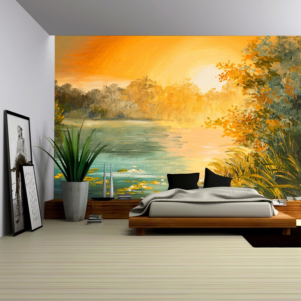Oil Painting Sunset on the Lake Colorfull Art Drawing Autumn Yellow ...