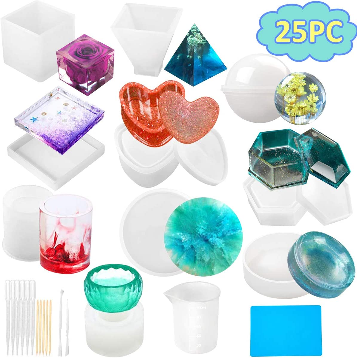 25PCS Silicone Resin Molds