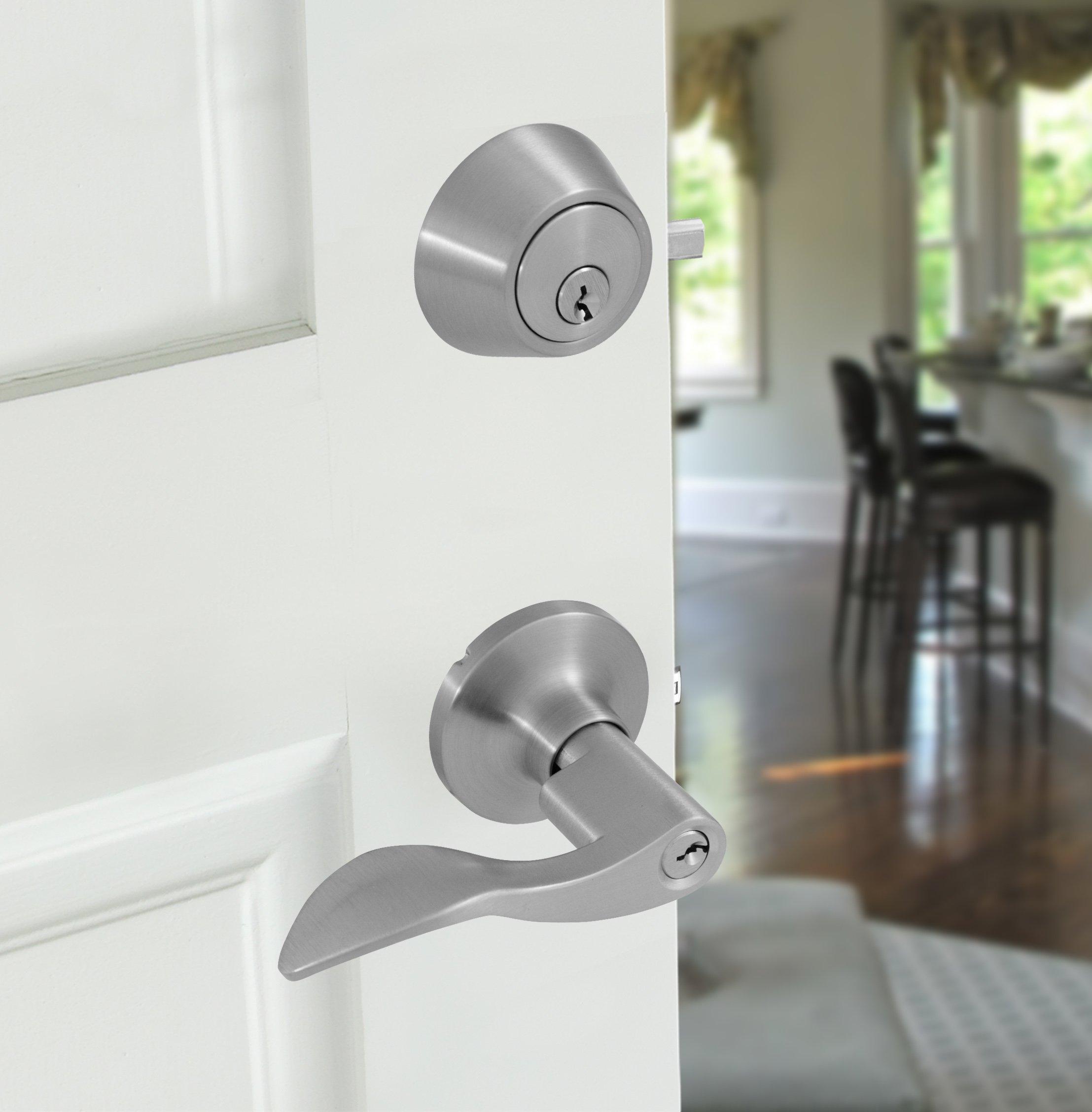 Honeywell 8106305 Wave Combo Door Lever, Satin Nickel by Honeywell Safes & Door Locks (Image #2)