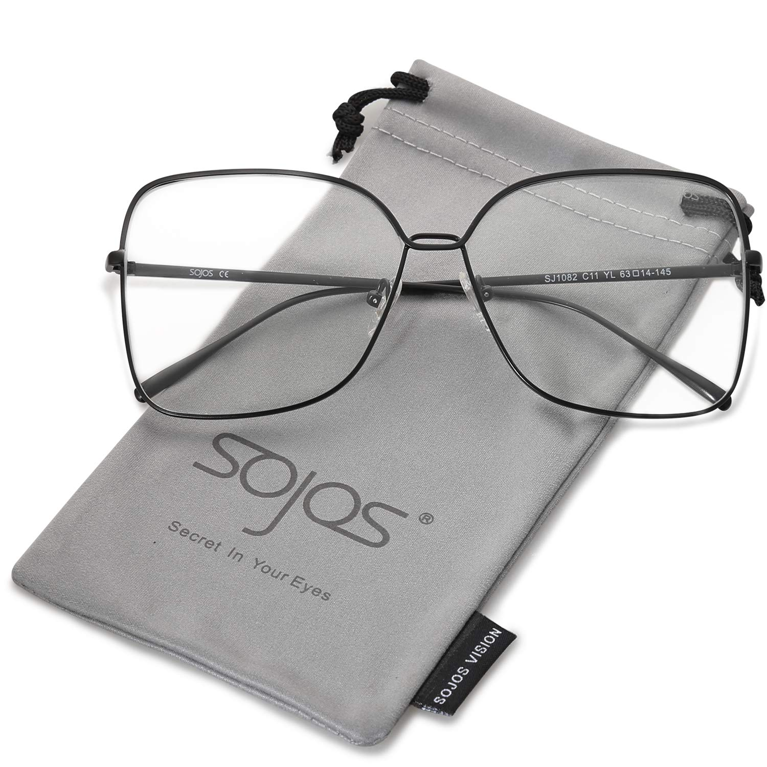 SOJOS Square Oversized Clear lens Computer Glasses Eyewear Frame SJ1082 with Matte Black Frame/Clear Lens
