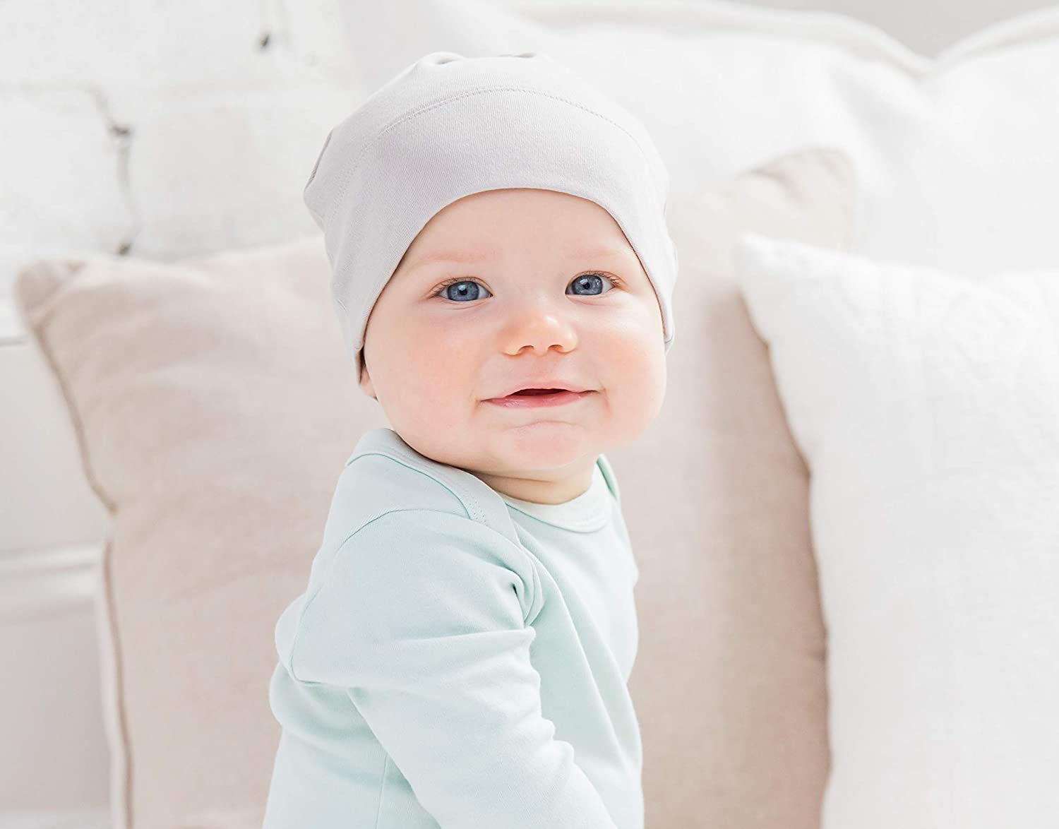 Infant Knit Cap Colored Organics Baby Organic Cotton Knotted Hat