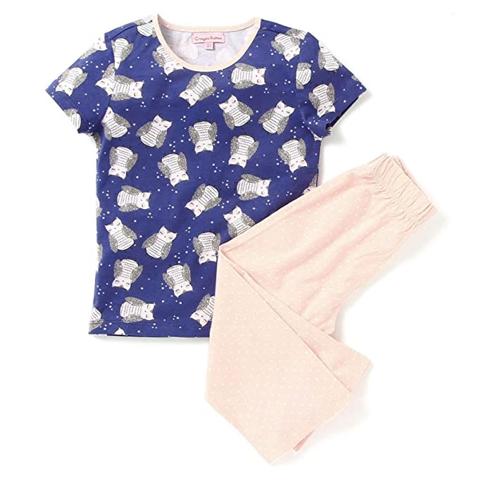 CrayonFlakes Kids Wear for Girls Cotton White Pink Night Suit SleepSuit Set