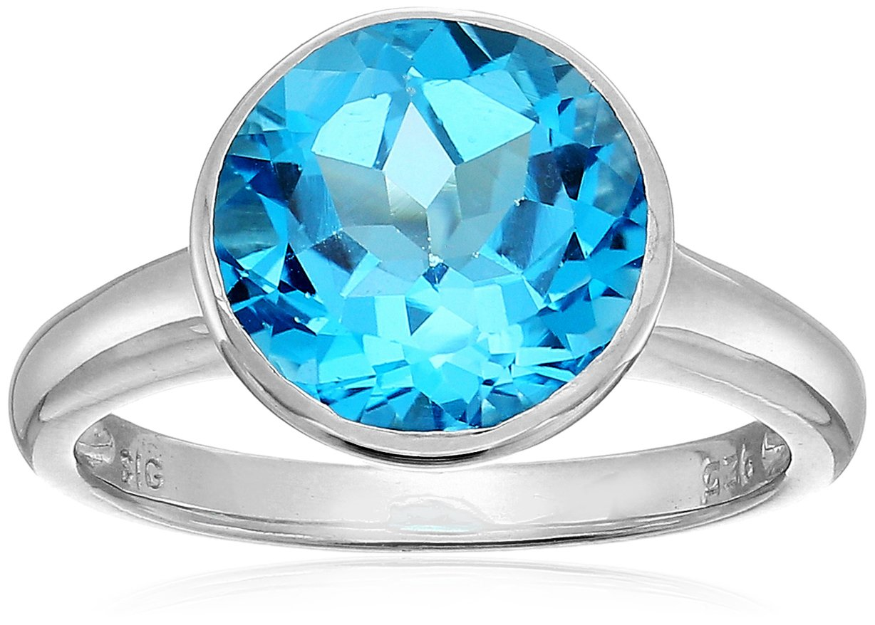 Sterling Silver Round Swiss Blue Topaz Ring, Size 8