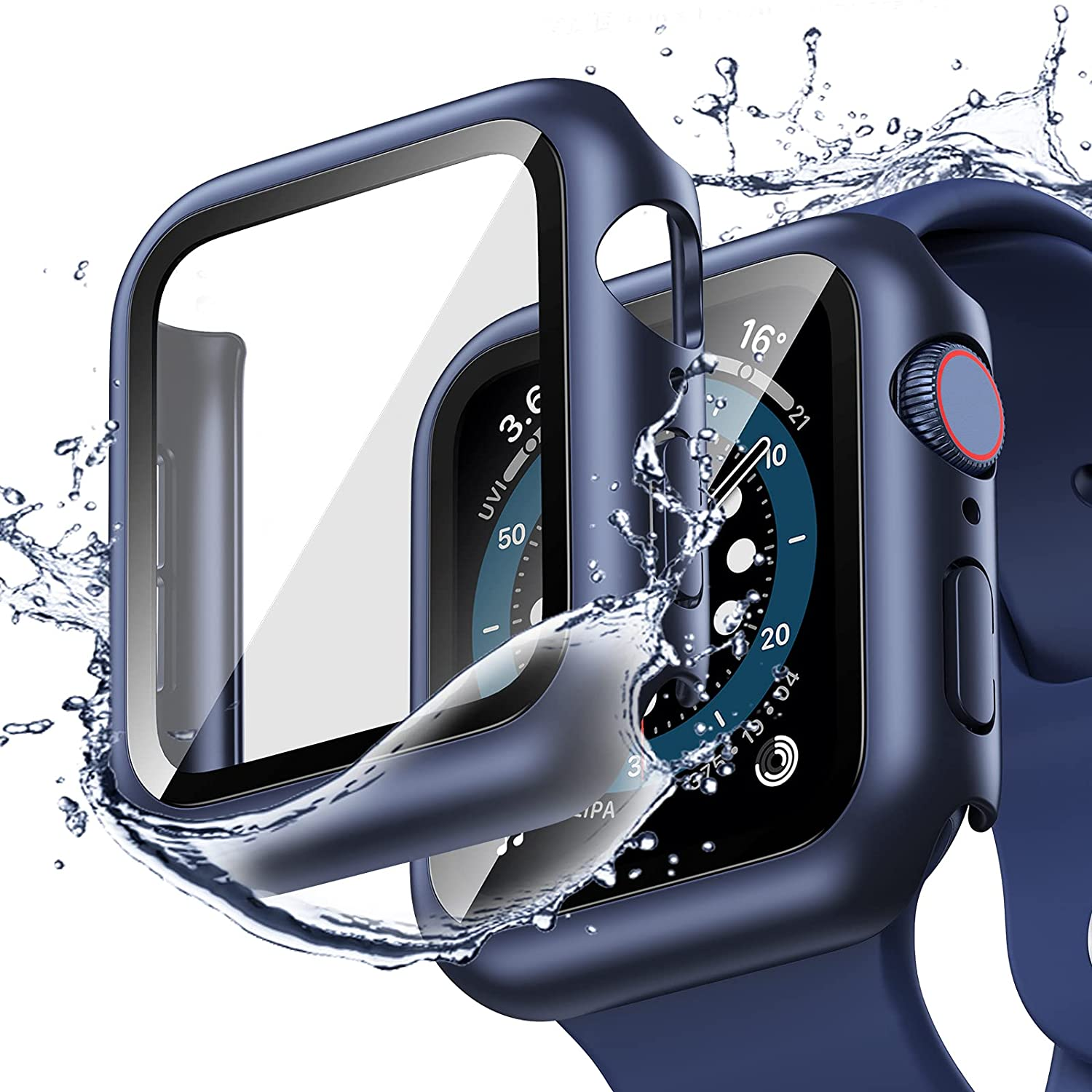 [2 Pack] Goton Waterproof Case Compatible for Apple Watch SE Series 6 /5 /4 44mm Case with Screen Protector, PC Matte Hard HD Tempered Glass Full Face Cover Protective Bumper Watch Case Accessories for iwatch women men (Blue+Blue, 44mm)
