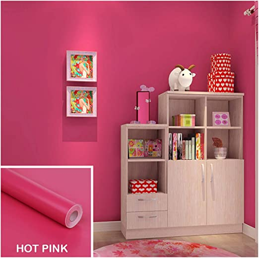 Amazon Com Wociaosmd Wallpaper Kind Color Shiny Furniture Refurbished Stickers Pvc Removable Wallpaper Home Decor Hot Pink Home Kitchen