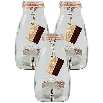 Kilner 3 piezas 8 litros cuadrado de zumo para cóctel de cerveza la bebida fría dispensador de bebida 3Ontainer: Amazon.es: Hogar