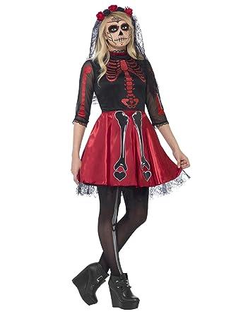 Día de los Muertos Esqueleto niña Halloween Teen Disfraz Rojo ...