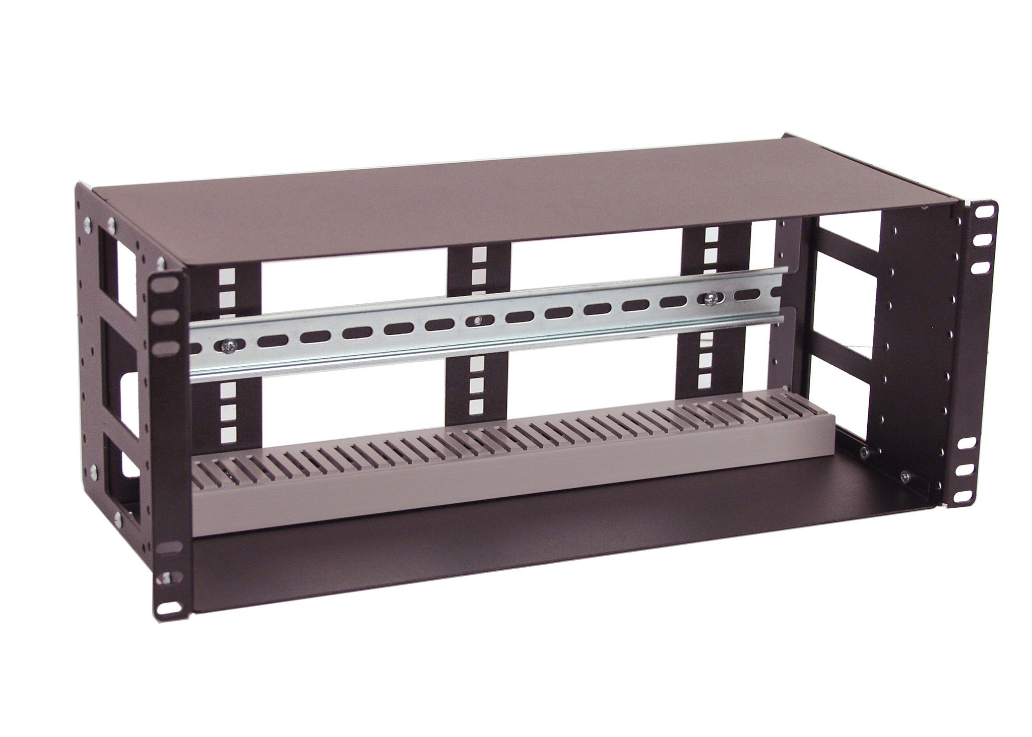IRP208DB-4U Fully Enclosed Rackmount 4U Compact 8'' Deep Industrial Din Rail Panel for 19'' 2-Post relay rack or 4-Post Rack Cabinet