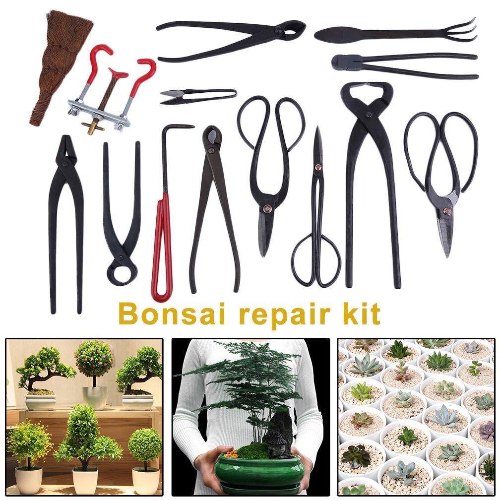 Bonsai Tool Set Carbon Steel Extensive 14Pcs. Kit Cutter Scissors with Case