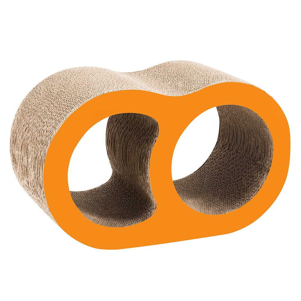 ELENKER Cat Scratcher Lounge Cardboard Come with Catnip (Double Hole-Shaped)