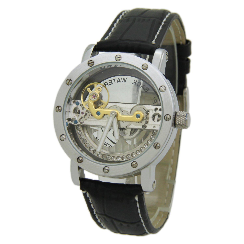SanjunシルバートーンベゼルSee Throughダイヤル機械自己風腕時計withブラックレザーストラップ B0187ROMII
