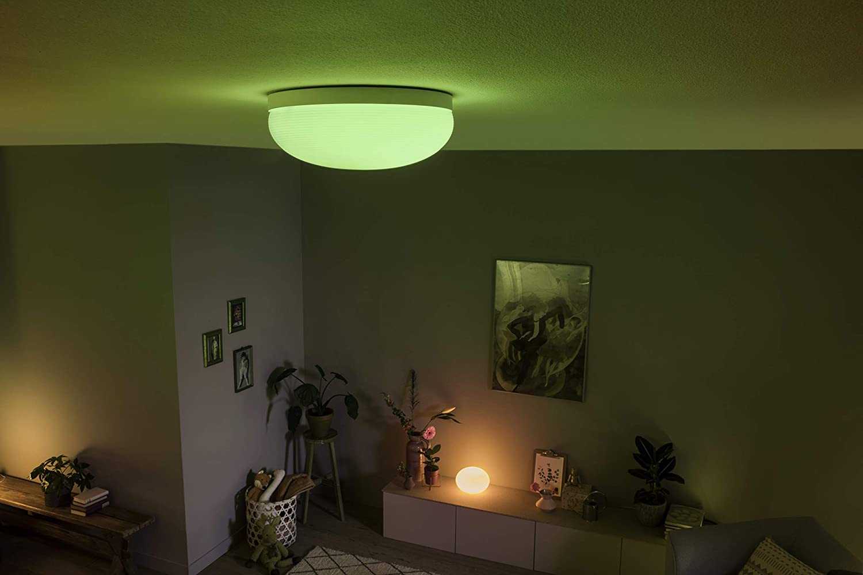 Philips Hue White and Color Ambiance LED Flourish Tischleuchte wei/ß steuerbar via App kompatibel mit  Alexa dimmbar
