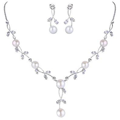 TENYE Austrian Crystal Cream Simulated Pearl Elegant Bridal Necklace Earrings Bracelet Set Clear Silver-Tone bSe0spos