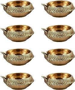 Hashcart Engraved Kuber Design Dia in Brass (Set of 20) - Diwali Decoration Diya