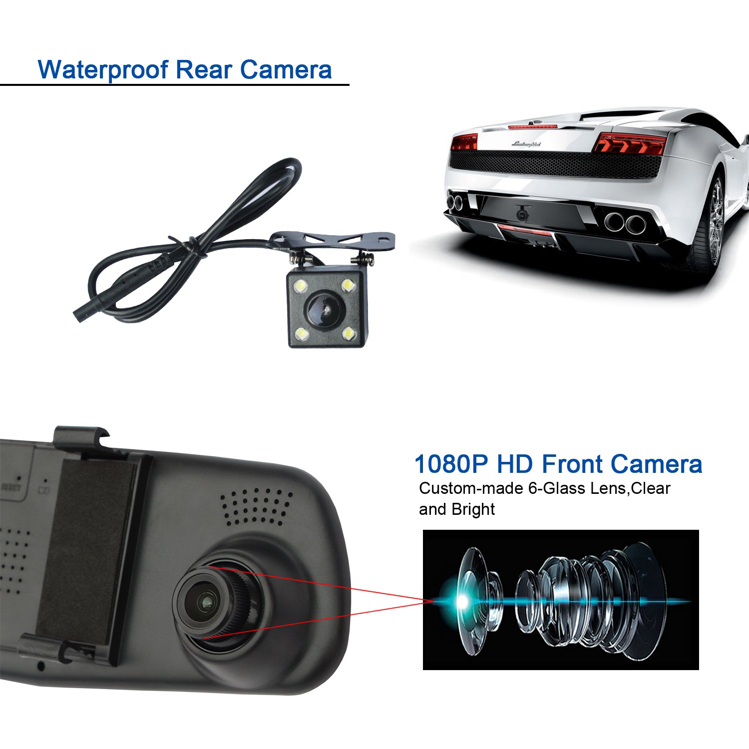 Dash Cam Lexxson 10Meter Longer Cable Dual Lens Car Camera 4.3 Full HD Car Vehicle Dashboard Camera Video Recorder For Vehicles Front and Rear DVR L2010x10m