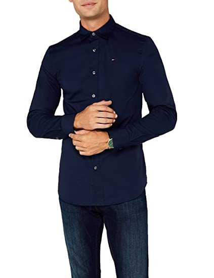 ea000708e Tommy Jeans Men's Original Stretch Slim Fit Classic Casual Shirt, Blue ( Black Iris)