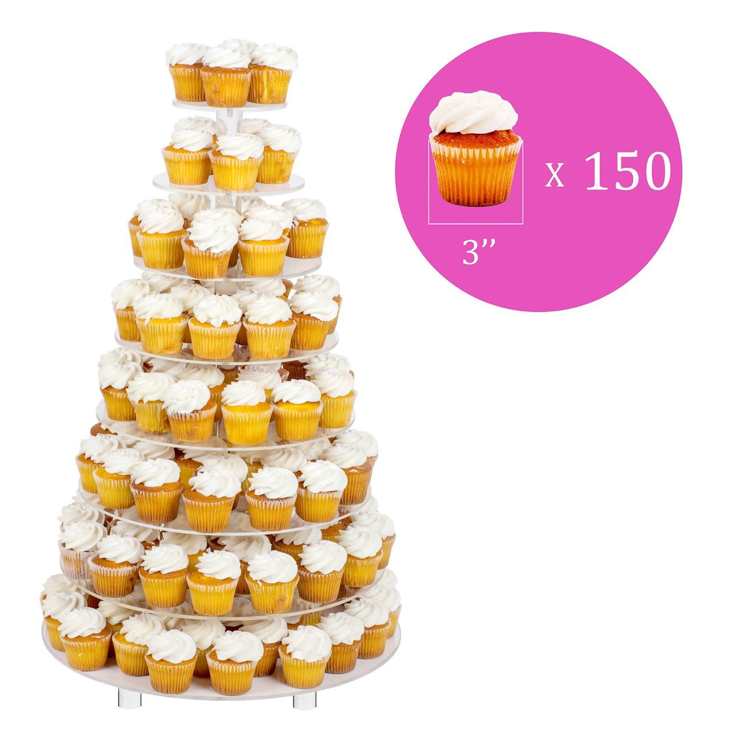 Jusalpha 8 Tier Wedding Party Acrylic Round Cake Stand/ Cupcake Stand Tower/ Dessert Stand/ Pastry Serving Platter/ Food Display Stand For Big Event (8RF) by Jusalpha (Image #3)