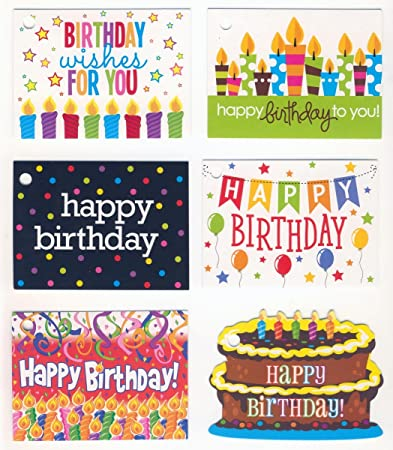 assorted happy birthday gift card tags 1 dozen 12 - Happy Birthday Gift Card