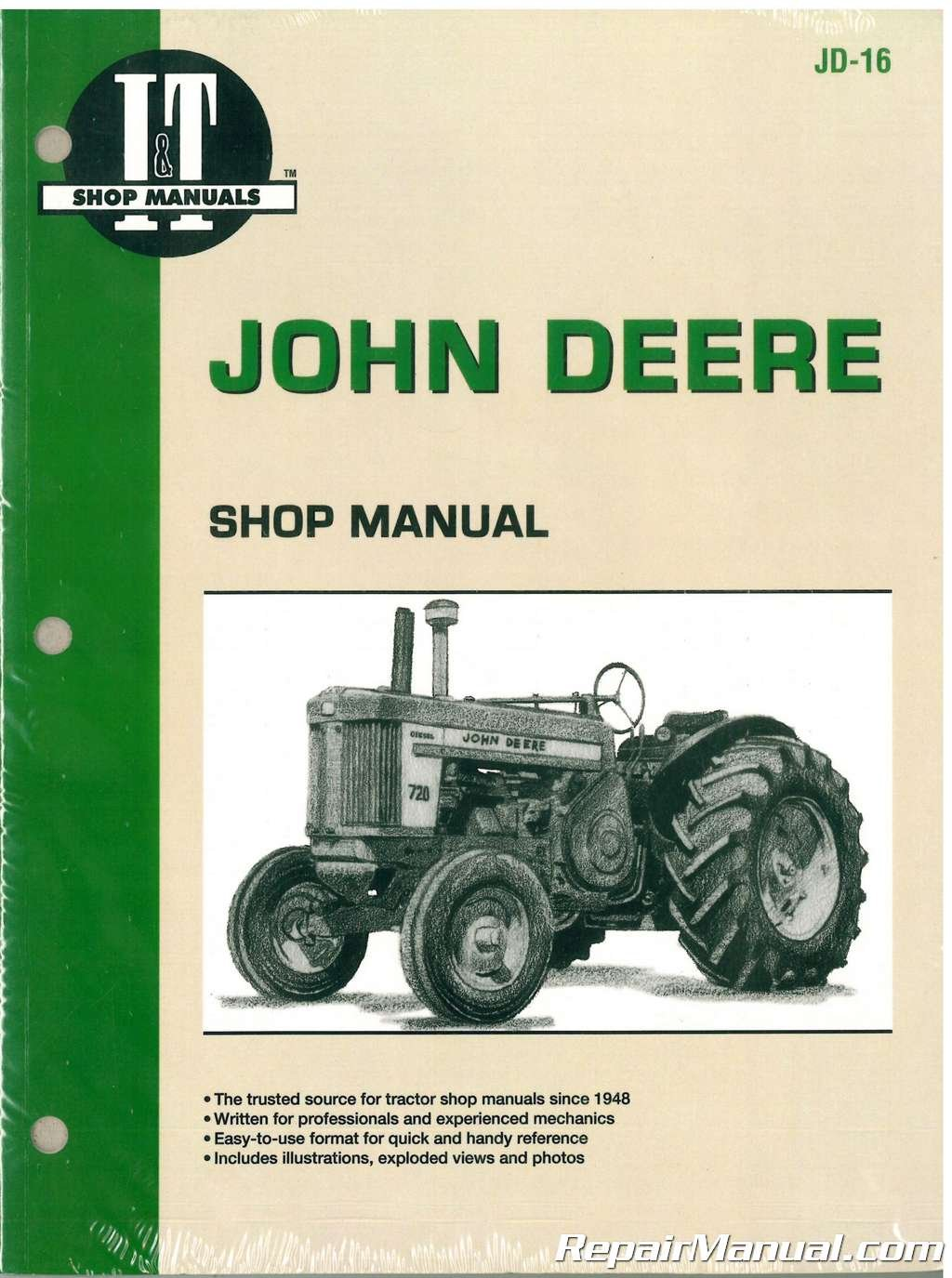 jd-16 john deere 520 530 620 630 720 730 tractor repair manual paperback –  2004