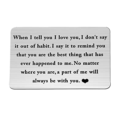 ENSIANTH Wallet Card Insert When I Tell You I Love You Wallet Card Groom's  Gift for Him