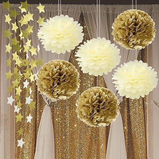 Dorado y Beige Tejido pompón de papel de seda (Twinkle ...