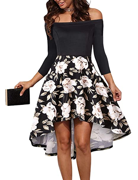 543f58ab3b LEORAY Womens Off The Shoulder Long Sleeve High Low Cocktail Skater Dress  Floral Print S