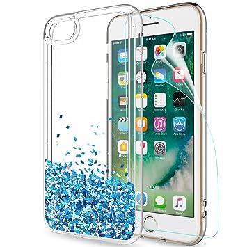 LeYi Funda Iphone 7 / Iphone 8 Silicona Purpurina Carcasa con HD Protectores de Pantalla,Transparente Cristal Bumper Telefono Gel TPU Fundas Case ...