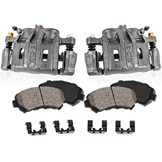 Quiet Low Dust Ceramic Brake Pads FRONT Performance Loaded Powder Coated Black Caliper Assembly 2 CCK01073