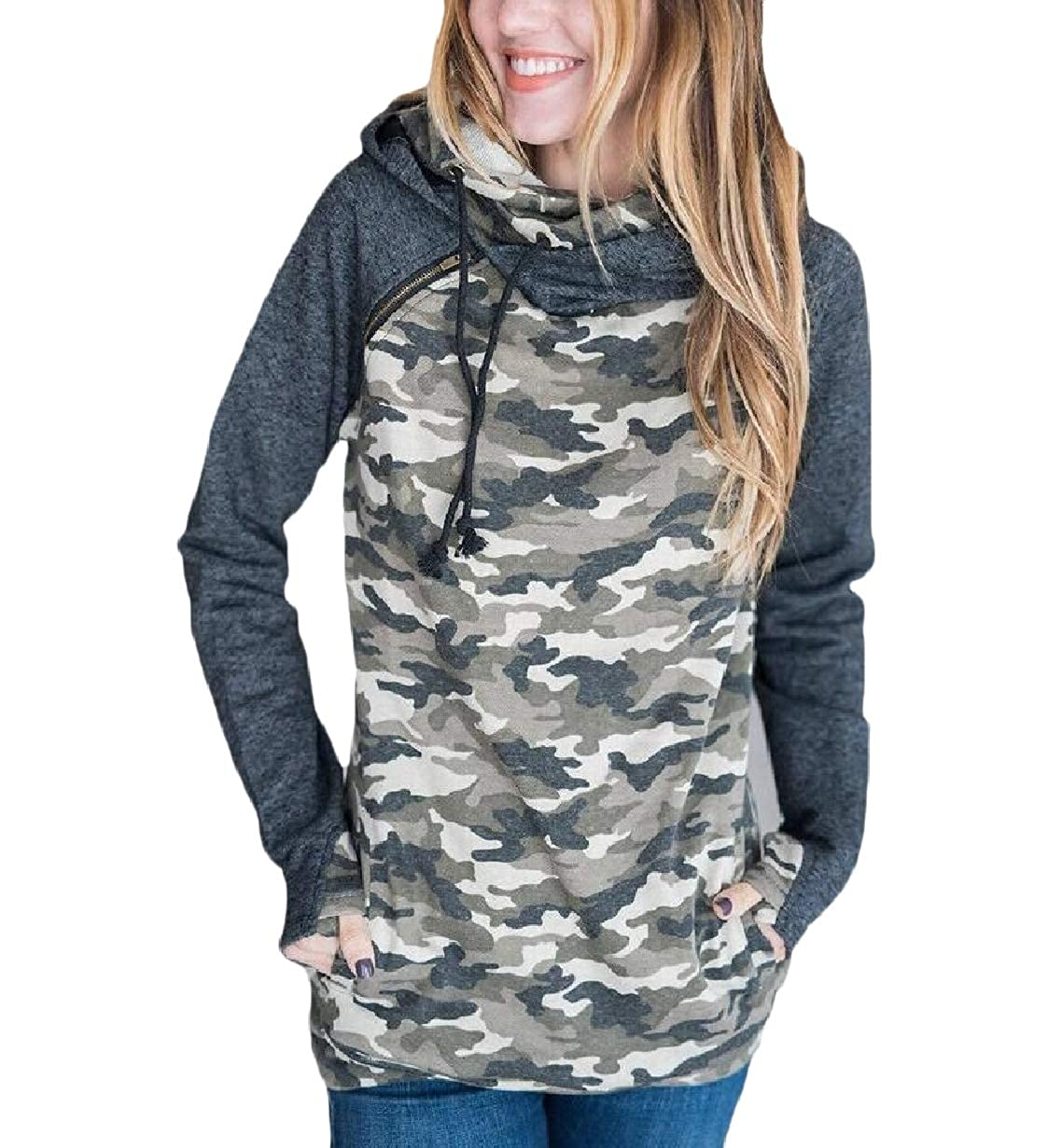 Tootless-Women Cotton Long Sleeve Pocket Hood Winter Pullover Sweatshirt