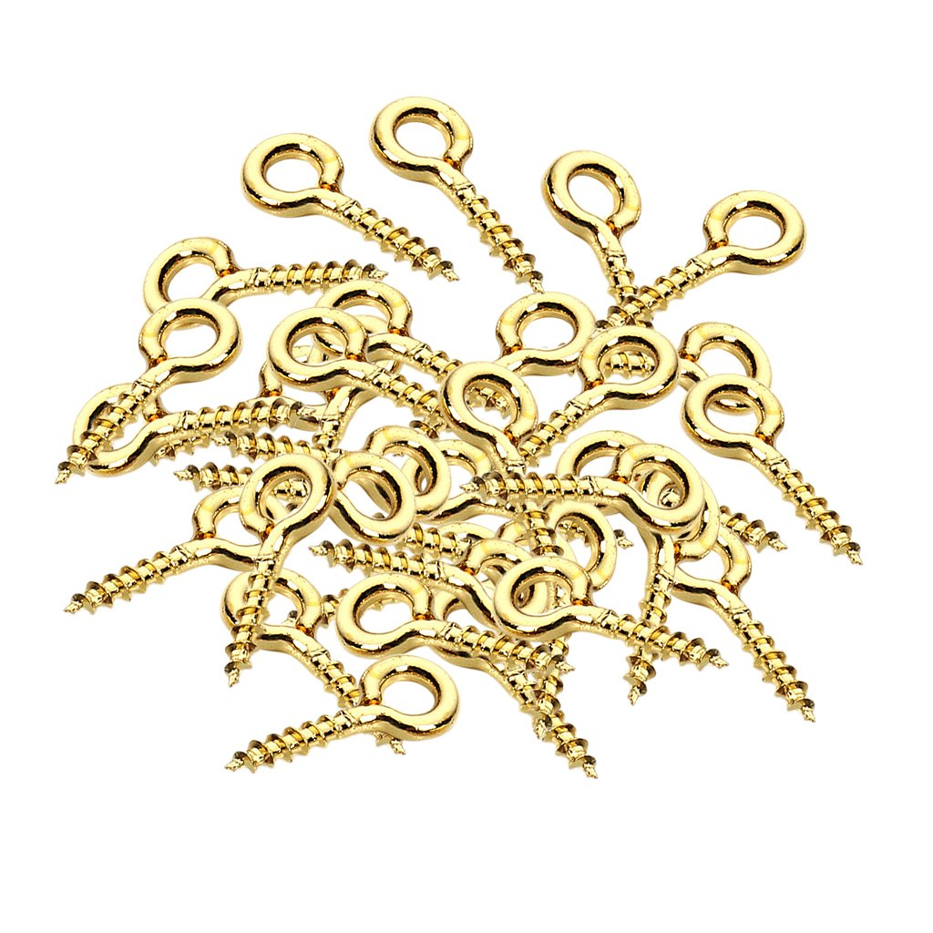 MagiDeal 50 Pieces Gold Screw Eyes Pins Eyelets Screw Jewelry Bag Making Findings