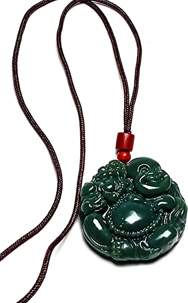 Yigedan Collier pour homme avec pierre pr/écieuse naturelle chinoise vert fonc/é