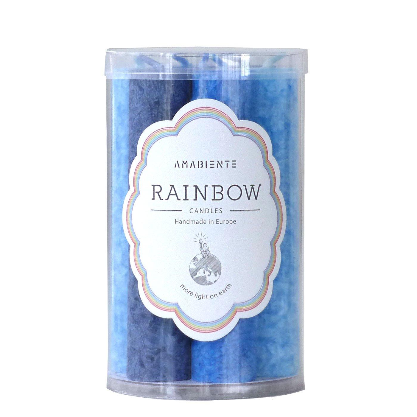 6-Einheiten Pflanzenwachs blau 9 x 9 x 15.5 cm Farbabstufung Vioelttt/öne 7 STK Durchmesse 3.0 x L/änge 14 cm AMABIENTE Designcandles Rainbow-Kerzen L14