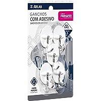 Gancho Adesivo Plástico com Metal, Suporta até 300g, Pacote com 5 Peças, Cor Branco, Atlas.