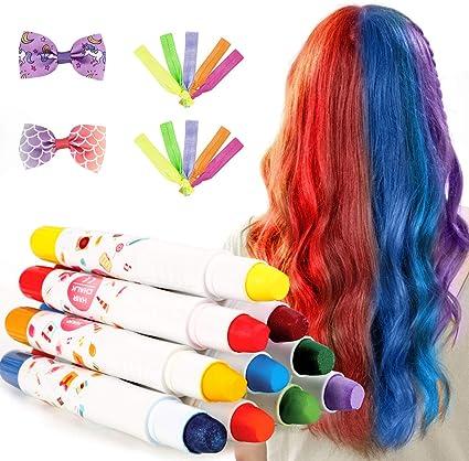 Tiza para el Cabello,10 colores No Tóxico Lavable Tinte Temporal Capilares para La Edad 4 5 6 Plus Niños Regalos Perfectos para el ...