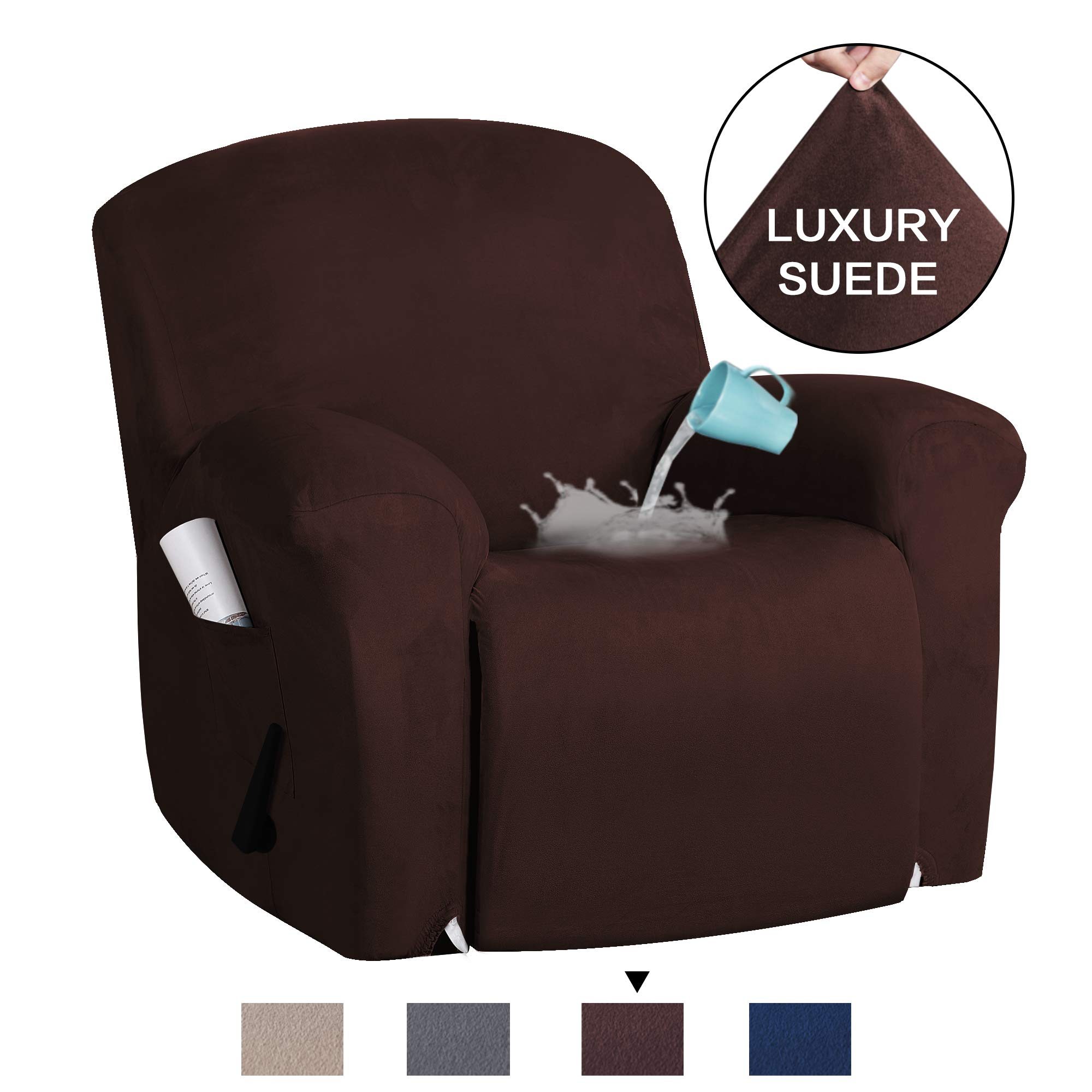 H.VERSAILTEX Recliner Chair Cover Velvet Suede Sofa Cover 1-Piece Recliner Covers for Large Recliner, Sofa Covers, Furniture Protector with Elastic Bottom, Anti-Slip Foams Attached (Recliner, Brown)