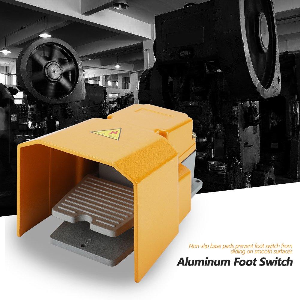 Interrupteur /à P/édale LT-6h 250v 10a Alliage d/'Aluminium R/ésistant l/'Huile La Corrosion avec Housse de Protection