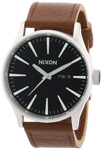 68e01449bbf3 Nixon A1051037-00 - Reloj analógico de cuarzo para hombre con correa de piel