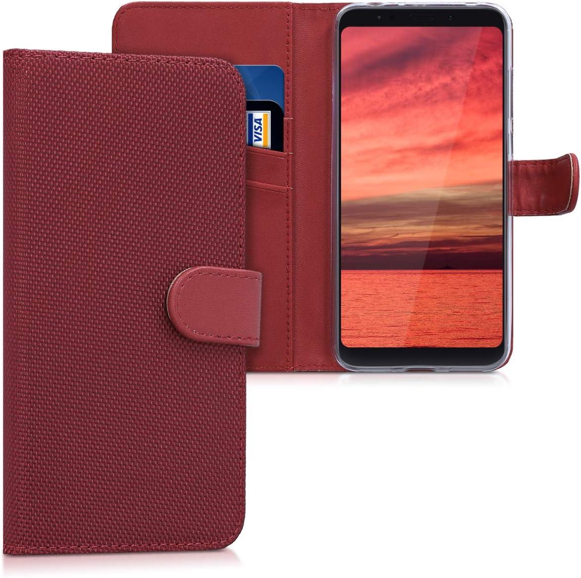 kwmobile Funda Compatible con Xiaomi Redmi 5 Plus/Redmi Note 5 (China) - Carcasa de Nailon con Soporte y Billetera en Rojo
