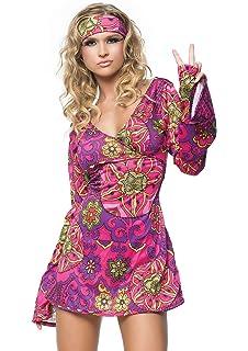 2efd871b8e8 Leg Avenue Women s 2 Piece Hippie Girl Costume Retro Print Bell Sleeves Go  Go Dress With