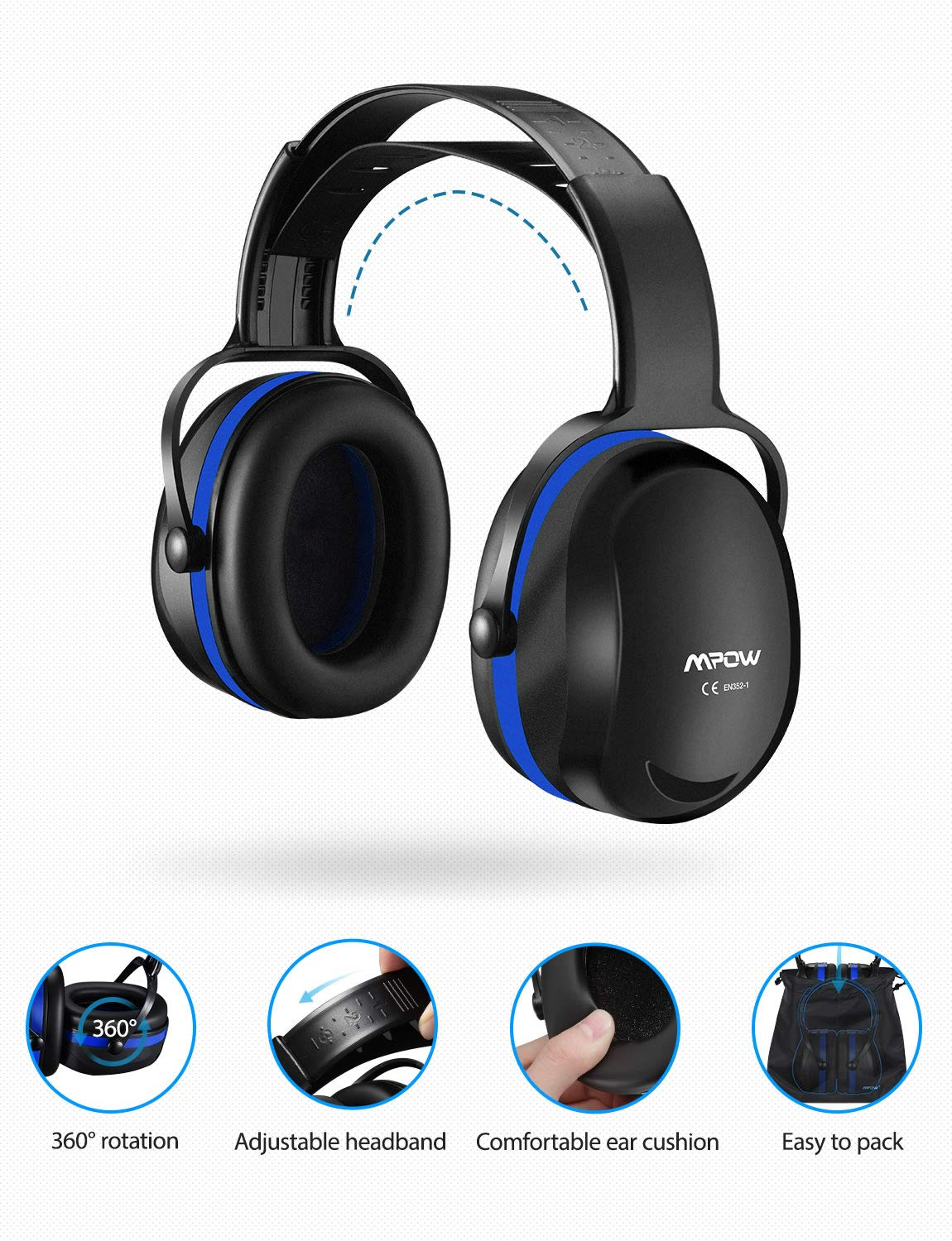 Mpow [Upgraded] Noise Reduction Safety Ear Muffs, Adjustable SNR 36dB Shooting Hunting Muffs, Hearing Protection with a Carrying Bag, Ear Defenders Fits Adults to Kids with Twist Resistant Handband by Mpow (Image #8)