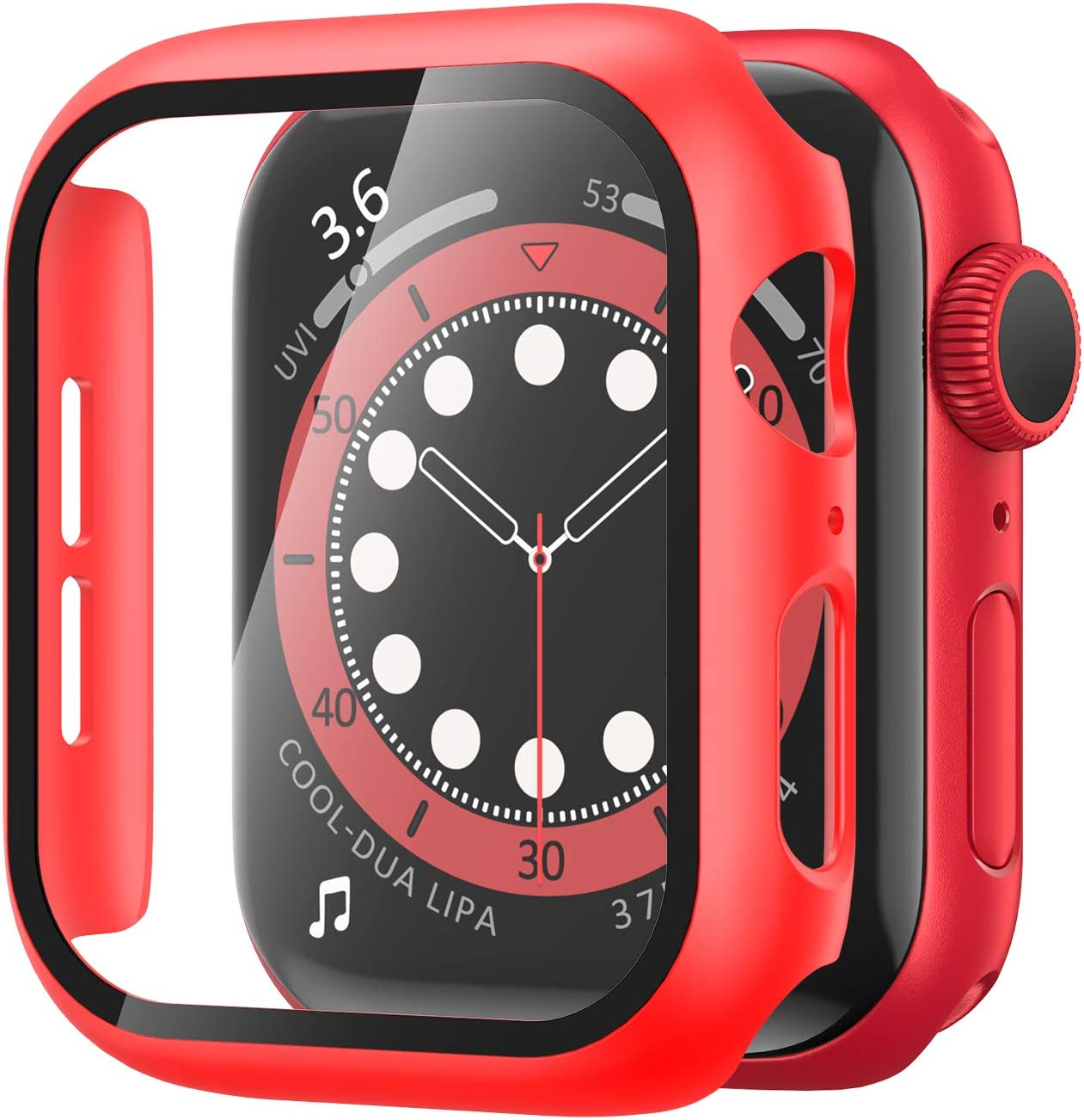 YMHML Case compatible with Apple Watch Series 6 / SE 44mm Built-in Tempered Glass Screen Protector, Hard PC Protector Cover Thin Guard Full Coverage for iWatch 44mm (Red)