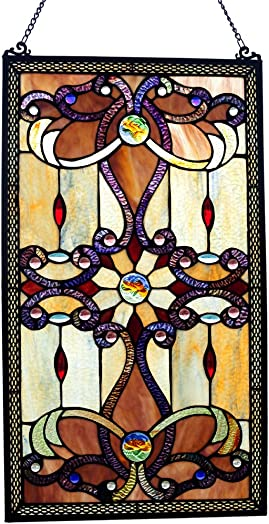 River of Goods Baroque Style 26 Inch High Stained Glass Window Panel, Brown, Amber, Purple
