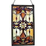 "26""H Stained Glass Brandi's Window / Wall Panel - Amber"